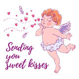 Valentine`s day. Cupid-boy in cloud pants and blowing kisses and hearts. Vector illustration Stock Photography