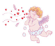 Valentine`s day. Cupid-boy in cloud pants and blowing kisses and hearts. Vector illustration Stock Image