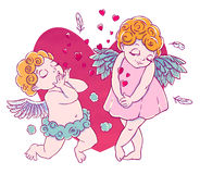 Valentine`s day. Cupid-boy cloud pants knelt and blowing kisses and hearts. Pair of angels. Royalty Free Stock Images