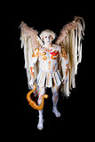 Valentine's Day, cupid man with harp. Body painting with hearts. White angel with big wings Stock Images