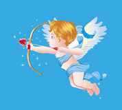 Valentine's Day Cupid Vector Illustration on Blue Blackground Royalty Free Stock Photos