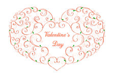 Valentine's Day curly heart Stock Images