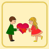 Valentine's Day Cute  figure Kids and heart vector Stock Images