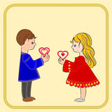 Valentine's Day Cute  figure Kids holding hearts vector. Valentine's Day Cute  figure Kids holding hearts background place for text vector illustration Stock Photo