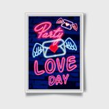 Valentine`s day. 3d neon sign. Realistic neon sign. Love day banner, logo, emblem and label. Bright signboard,. Light banner Stock Images