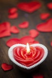 Valentine`s day, dark background candle heart. royalty free stock image