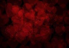 Valentine's day dark red hearts background. Valentine's day dark red hearts bokeh background Royalty Free Stock Photo