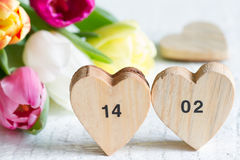 Valentine`s Day dates on hearts and spring tulips Stock Photography