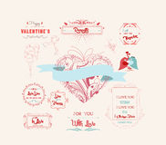 Valentine's Day and the day of the wedding set Royalty Free Stock Images