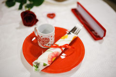 Valentine's day decor at restaurant Royalty Free Stock Photos