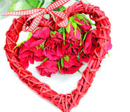 Valentine s day decoration heart. Valentine's day decoration heart and flowers, isolated on white royalty free stock image