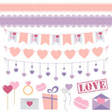 Valentine's Day decoration vector set. Valentine's Day vector set of bunting, lace ribbons and other decoration elements in flat style. Great for Valentine's Day Stock Photography