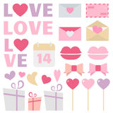 Valentine's Day decoration vector set. Great for Valentine's Day design and scrapbook. Vector illustration. More sets you can find in my portfolio Royalty Free Stock Image