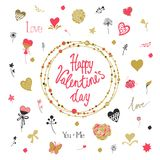 Valentine's Day decorative background with hearts, flowers and butterflies. Template for greeting card, wedding Stock Image