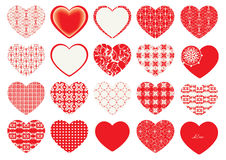 Valentine`s Day, decorative hearts. Valentine`s Day, red decorative hearts, floral motifs Royalty Free Stock Images