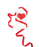Valentine's day design with cell phone and red ribbon Royalty Free Stock Photo