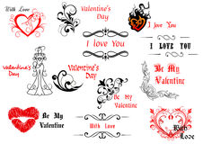 Valentine's Day design elements. With calligraphic scripts for holiday design Royalty Free Stock Photography
