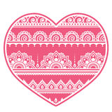 Valentine`s Day design - Mehndi heart, Indian Henna tattoo pattern Royalty Free Stock Photo