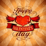 Valentine`s day design in retro style with winged. Happy Valentine`s day design in retro style with winged heart. Eps10 Royalty Free Stock Image