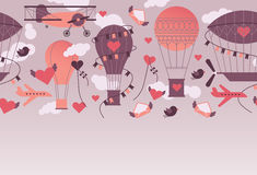 Valentine's day design. Romantic design with Valentine's day and aviation symbols in retro style air balloons, aircrafts, clouds. Horizontal seamless design stock illustration