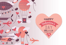 Valentine's day design. Romantic design with Valentine's day and aviation symbols in retro style, air balloons, aircrafts, clouds, sky. Heart shape with romantic stock illustration