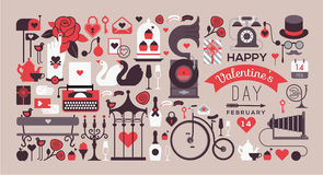 Valentine's day design. Romantic postcard with valentine's day symbols and silhouettes. Text composition with illustration in retro style royalty free illustration