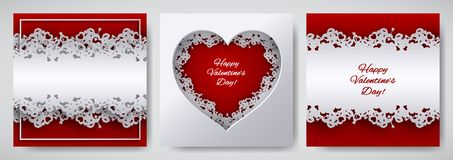 Valentine`s day design set. Greeting card, poster, banner collection. Cutted paper heart decorated with lace ribbon on red / white. Background, paper cut art Stock Photography