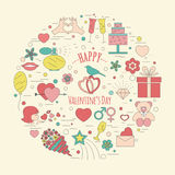 Valentine's day design template. Graphic elements with hearts, a Royalty Free Stock Image