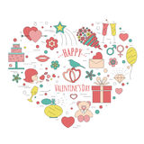 Valentine's day design template. Graphic elements with hearts, a Stock Images