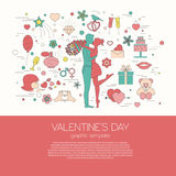 Valentine's day design template. Graphic elements with hearts, a Royalty Free Stock Photography