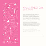 Valentine's day design template. Graphic elements with hearts, a Stock Photo