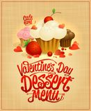 Valentine`s day dessert menu design Royalty Free Stock Photo