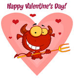 Valentine's Day devil. Happy valentine's day text over a devil guy holding a pitchfork in front of a heart royalty free illustration
