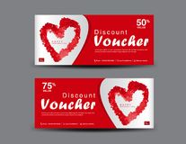 Valentine`s Day Discount Voucher, Gift Voucher template layout, business flyer design, certificate, coupon. Ticket, Discount card, red heart icon, banner stock illustration
