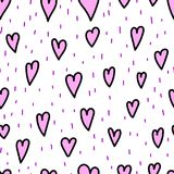 Valentine`s day doodle hearts and dashes on white background, seamless pattern. Kids style vector illustration. Romantic. Repeated endless texture design Stock Image