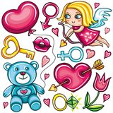 Valentine's day doodle set stock illustration