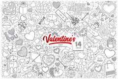 Valentine`s day doodle set with red lettering vector illustration