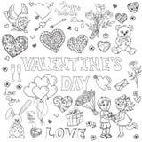 Valentine's day doodles set Stock Photos