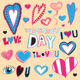Valentine's Day Doodles Royalty Free Stock Images