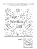 Valentine`s Day dot-to-dot and coloring page with heart, greeting, bunnies and flowers. Valentine`s Day themed connect the dots picture puzzle and coloring page Royalty Free Stock Images
