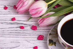 Valentine`s day elegant still life with tulip flowers cup of coffe marshmallow red heart shape sign Stock Photography