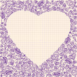 Valentine's Day elements in frame heart shape Royalty Free Stock Image