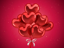 Valentine`s day elements. Heart shaped balloons for celebration with golden particles in 3d illustration Stock Photo
