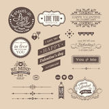 Valentine's day Elements labels and frames Vintage Style Stock Image