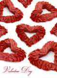 Valentine's day feathers heart decor. On white isolated royalty free stock photos