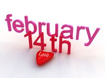 Valentine's Day, february 14 th. Valentine's Day february 14 th with heart Royalty Free Stock Images