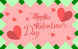 Pink green day card with hearts happy Valentine`s Day stock illustration