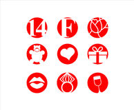 Valentines day, 14 February,  icon. Valentines day, icon set. 14 February Royalty Free Stock Images