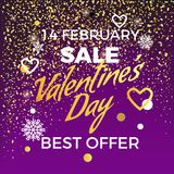 Valentine s Day 14 February Sale Best Offer. Poster with discount advert, doodles, snowflakes, hearts and confetti. Vector illustration on dark background Stock Photos