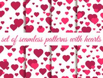 Valentine`s day. 14 February. Seamless pattern set with hearts. Festive background for greeting card, banner and poster. Vector illustration Stock Photography